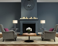 Elegant luxury contemporary living room with fireplace. With grey couches Stock Photo