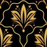 Elegant luxury embossed golden victorian patterns on black background Royalty Free Stock Photos