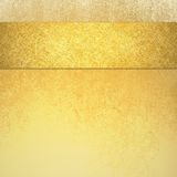 Elegant luxury gold background with ribbon stripe on top border and vintage texture. Fancy gold background with pretty gold ribbon stripe that is blank for text Stock Images
