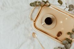 Elegant Luxury Morning. Flat Lay composition. With coffee cup on tray royalty free stock photography