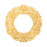 Elegant luxury retro golden floral round frame Stock Photography