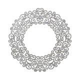 Elegant luxury retro silver floral round frame Royalty Free Stock Image