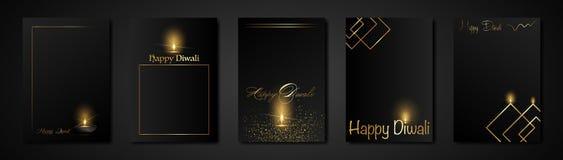Free Elegant Luxury Set Happy Diwali Indian Lights Festival Holiday Greeting Black Card Template. Hindu Diwali Golden Ornament Cards Royalty Free Stock Photos - 160820488