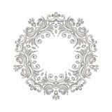 Elegant luxury vintage circle silver floral frame Royalty Free Stock Photos