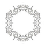 Elegant luxury vintage circle silver floral frame Stock Photo