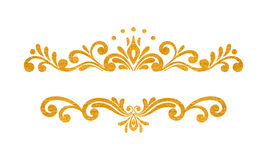 Elegant luxury vintage gold floral border. Elegant luxury vintage gold floral hand drawn decorative border or frame on white background. Refined vignette element royalty free illustration