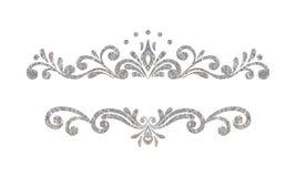 Elegant luxury vintage silver floral border Stock Image