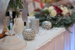 Elegant, luxury wedding reception catering table, christmas them Royalty Free Stock Photo