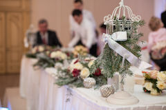 Elegant, luxury wedding reception catering table, christmas them Stock Photography