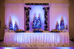 Elegant, luxury wedding reception catering table, christmas them Royalty Free Stock Photography