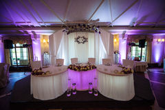 Elegant, luxury wedding reception table arrangement & catering Royalty Free Stock Image