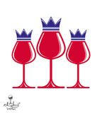 Elegant luxury wineglasses with king crown, graphic artistic vec Stock Photography