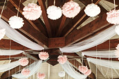 Elegant and luxury wooden wedding arbor tables chairs and decora Royalty Free Stock Photography