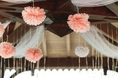 Elegant and luxury wooden wedding arbor tables chairs and decora Stock Photos