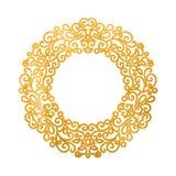 Elegant lyxig retro guld- blom- rund ram Arkivbild
