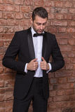 Elegant macho man in a bow tie Royalty Free Stock Images