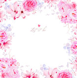 Elegant magnolia and peonies vector frame Royalty Free Stock Images