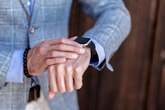 Elegant male person wearing watch royalty free stock photo