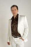 Elegant male portrait. Elegant male in white dress Stock Images