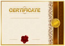 Elegant malplaatje van certificaat, diploma Stock Fotografie