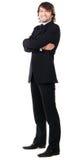 Elegant man in black suit Stock Photos