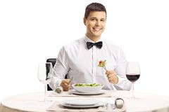 Elegant man with a bow tie eating a salad at a restaurant table. Isolated on white background royalty free stock images
