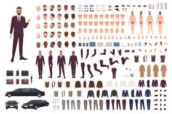 Elegant man dressed in business or smart suit creation set or DIY kit. Collection of body parts, stylish clothes, faces