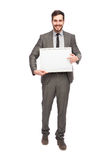 Elegant man with framed board Royalty Free Stock Image