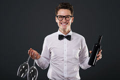 Elegant man with glasses and wine Stock Images
