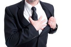 Elegant man having chest pain and heart attack Royalty Free Stock Photo