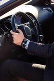 Elegant man in his car Stock Photography