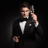 Elegant man holdinh up a glass of champagne. Royalty Free Stock Photography