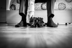 The elegant man laces shoes Stock Photos