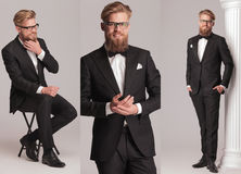 Elegant man with long beard in tuxedo suit and bow tie Royalty Free Stock Image