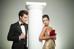 Elegant man looking at his woman Royalty Free Stock Photos