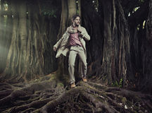 Elegant man on nature background Royalty Free Stock Photos
