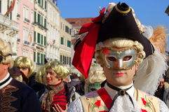 An elegant man's mask. An nice and elegant mask near  S.Marco's square during the first official Carnival day in Venice Stock Image