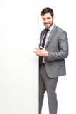 Elegant man showing panel stock photo