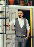 Elegant man in a vest. Stylish groom Royalty Free Stock Photo