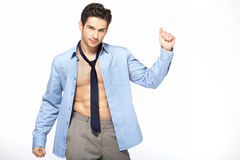 Elegant man in victory gesture Stock Image