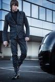 Elegant man walking royalty free stock image