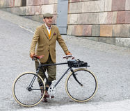 Elegant man wearing old fashioned brown tweed clothes Royalty Free Stock Photos