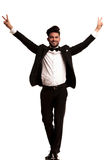 Elegant man wearing tuxedo celebrating success Stock Image