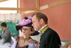 Elegant man and woman talking. Stock Image