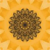 Elegant mandala-like pattern on yellow seamless watercolor texture.  Stock Images