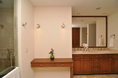 Elegant marble bathroom. Decorated with red rose stock photos