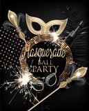 Elegant masquerade party invitation card with masquerade deco objects and sparklers. Gold and Black. Royalty Free Stock Photo