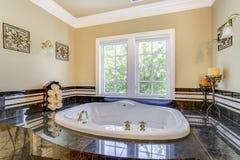 Elegant master bathroom with luxury bathtub royalty free stock photos