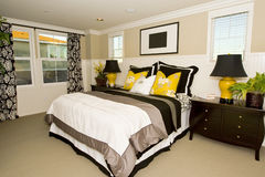 Elegant master bedroom. With a contemporary style stock image