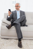 Elegant mature businessman text messaging at home Stock Photo